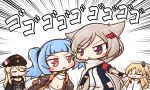 4girls aka_shiba azur_lane bangs bismarck_(azur_lane) black_gloves blonde_hair blue_hair capelet cleveland_(azur_lane) commentary_request gloves hat jacket long_hair long_sleeves looking_at_another military montpelier_(azur_lane) multiple_girls open_mouth parted_bangs short_hair sound_effects twintails u-556_(azur_lane) white_capelet