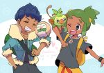 2boys ^_^ backpack bag black_pants black_shirt blue_jacket closed_eyes dark_skin dark_skinned_male fur_trim gen_7_pokemon gen_8_pokemon green_hair grey_eyes grin grookey hau_(pokemon) hop_(pokemon) jacket mikanbako_(aitatadon3) multiple_boys pants pokemon pokemon_(creature) pokemon_(game) pokemon_on_arm pokemon_sm pokemon_swsh purple_hair rowlet shirt shorts sidelocks smile t-shirt topknot trait_connection yellow_shorts