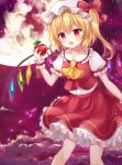 1girl apple ascot bangs blonde_hair blush bow breasts center_frills clouds commentary crystal eyebrows_visible_through_hair feet_out_of_frame flandre_scarlet food fruit full_moon hair_between_eyes hand_up hat hat_bow holding holding_food holding_fruit long_hair mayo_(miyusa) miniskirt mob_cap moon night night_sky one_side_up open_mouth outdoors petals petticoat puffy_short_sleeves puffy_sleeves red_bow red_eyes red_skirt shirt short_sleeves skirt sky small_breasts solo tears touhou white_headwear white_shirt wings wrist_cuffs yellow_neckwear