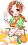 1girl apron bangs brown_eyes brown_hair chef_hat diagonal_stripes dress fingernails forehead frilled_apron frills green_dress hair_ornament hairclip hand_up hat highres idolmaster idolmaster_cinderella_girls mini_hat misumi_(macaroni) oven_mitts parted_bangs puffy_short_sleeves puffy_sleeves ryuuzaki_kaoru short_hair short_sleeves sitting solo spork striped striped_legwear thigh-highs tilted_headwear tomato_hair_ornament toque_blanche two-tone_background white_apron white_background white_headwear wrist_cuffs yellow_background