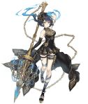 1girl alice_(sinoalice) bare_shoulders black_hair chain chandelier dress elbow_gloves expressionless eyebrows_visible_through_hair fire full_body gloves gold_trim hair_ribbon ji_no looking_at_viewer official_art platform_footwear polearm red_eyes ribbon short_hair sinoalice solo spear tattoo thigh_strap transparent_background weapon