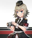 1girl absurdres belt blue_eyes cameo eyebrows_visible_through_hair girls_frontline grey_hair hat highres kirochef military military_hat military_uniform mp41_(girls_frontline) necktie notepad smug solo uniform wehrmacht wrist_cuffs