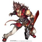 1boy 2016 2019 belt black_gloves brown_hair collarbone elbow_gloves fingerless_gloves full_body gloves grin guilty_gear headband holding holding_sword holding_weapon left-handed legs_apart long_hair looking_at_viewer male_focus messy_hair muscle pants pokimari ponytail red_footwear reverse_grip shoes simple_background smile sol_badguy solo sword weapon white_background white_pants yellow_eyes
