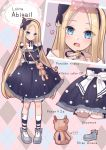 1girl abigail_williams_(fate/grand_order) absurdres adapted_costume back_bow bangs black_bow black_dress blonde_hair blue_dress blue_eyes blue_footwear blush bow dress fate/grand_order fate_(series) food_themed_ornament forehead full_body hair_bow hairband hane_yuki highres jewelry kneehighs lolita_fashion long_hair looking_at_viewer multiple_views open_mouth orange_bow parted_bangs ring shoe_ribbon shoes socks striped striped_legwear stuffed_animal stuffed_toy teddy_bear white_bow