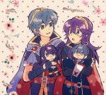 1boy 1girl armor blue_eyes blue_hair blush cape character_doll doll fingerless_gloves fire_emblem fire_emblem:_kakusei fire_emblem:_monshou_no_nazo fire_emblem:_souen_no_kiseki fire_emblem_heroes gloves great_grandfather_and_great_granddaughter headband highres intelligent_systems kiriya_(552260) long_hair lucina marth nintendo open_mouth plush short_hair simple_background smile super_smash_bros. tiara