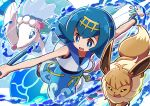 1girl blue_eyes blue_hair blue_sailor_collar blue_shorts bracelet commentary_request eevee fishing_rod gen_1_pokemon gen_3_pokemon gen_7_pokemon hairband holding holding_fishing_rod jewelry kingin kyogre legendary_pokemon open_mouth outstretched_arms pokemon pokemon_(anime) pokemon_(creature) pokemon_sm_(anime) primarina sailor_collar shirt short_hair shorts smile spread_arms suiren_(pokemon) swimsuit swimsuit_under_clothes trial_captain water