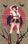 1girl absurdres arm_up bangs belt bird black_belt black_hair black_legwear black_neckwear black_ribbon black_skirt black_wings brown_background camera crow feathered_wings full_body geta grin hat head_tilt highres holding holding_camera kneehighs leaf-pattern_stripe leaf_print looking_at_viewer miniskirt neck_ribbon outline petticoat pointy_ears pom_pom_(clothes) puffy_short_sleeves puffy_sleeves red_eyes red_footwear ribbon shameimaru_aya shirt short_hair short_sleeves sidelocks skirt smile solo tassel tengu-geta thighs tokin_hat touhou tuck white_outline white_shirt wing_collar wings