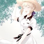 1girl :d artoria_pendragon_(all) blonde_hair blue_bow blue_ribbon bow closed_eyes dress fate/stay_night fate_(series) hair_bow hat open_mouth ribbon saber short_hair short_sleeves sidelocks smile solo sun_hat sundress suzuakks white_background white_dress