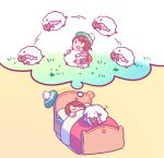1girl absurdres bed brown_hair chibi commentary counting_sheep dreaming english_commentary female_protagonist_(pokemon_swsh) gen_8_pokemon green_headwear highres jumping pokemon pokemon_(creature) pokemon_(game) pokemon_swsh redricewine short_hair simple_background sleeping solo tam_o'_shanter thought_bubble u_u under_covers wooloo yellow_background