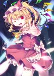 1girl ;d absurdres blonde_hair commentary_request contrapposto cravat crystal danmaku eyebrows_visible_through_hair fangs flandre_scarlet foreshortening frilled_shirt_collar frills gunjou_row hair_between_eyes hat hat_ribbon head_tilt highres looking_at_viewer lower_teeth magic_circle mob_cap one_eye_closed open_mouth outstretched_arm pentagram pink_headwear reaching_out red_eyes red_skirt red_vest ribbon short_hair side_ponytail skirt slit_pupils smile solo standing touhou vest wings yellow_neckwear
