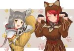 2girls animal_ears animal_hood bangs blunt_bangs blush bodysuit breasts brown_hoodie cat_day cat_ears eyebrows_visible_through_hair facial_mark fangs fingerless_gloves gloves grey_background homura_(xenoblade_2) hood large_breasts long_sleeves looking_at_viewer multiple_girls niyah one_eye_closed paw_pose paw_print redhead ribbon short_hair silver_hair smile sssemiii swept_bangs white_background white_gloves xenoblade_(series) xenoblade_2 yellow_bodysuit yellow_eyes yellow_ribbon