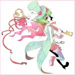 1girl bare_arms bow coattails empty_eyes from_behind full_body graphite_(medium) green_hair hat high_heels holding looking_back macross macross_frontier macross_frontier:_sayonara_no_tsubasa mendesendofworld no_mouth pale_skin ranka_lee short_hair solo standing standing_on_one_leg thigh-highs top_hat traditional_media violet_eyes wrist_cuffs