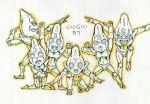colored_pencil_(medium) copyright_name ginyu_force_pose ink_(medium) jojo_no_kimyou_na_bouken kojima_eri_(animator) no_humans sex_pistols_(stand) stand_(jojo) traditional_media white_background
