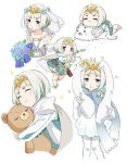 1girl alternate_costume animal_ears blue_hair blush_stickers bouquet child closed_eyes closed_mouth dress fake_animal_ears fire_emblem fire_emblem_heroes flower goma-chan gradient_hair hair_flower hair_ornament holding intelligent_systems knife long_sleeves menoko multicolored_hair nintendo open_mouth rabbit_ears sea_lion seal short_dress short_hair shounen_ashibe simple_background stuffed_animal stuffed_toy super_smash_bros. super_smash_bros_brawl super_smash_bros_ultimate teddy_bear tiara upper_body veil violet_eyes white_background white_hair white_legwear ylgr_(fire_emblem_heroes) young