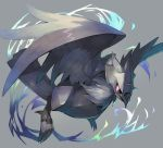 bird black_sclera claws commentary corviknight crow flying full_body gen_8_pokemon grey_background looking_at_viewer pokemon pokemon_(creature) red_eyes sasa_onigiri scowl sharp_claws simple_background solo wings
