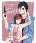 1boy 1girl absurdres black_hair blue_jacket brown_eyes brown_hair city_hunter collarbone couple gun highres holding holding_gun holding_weapon jacket looking_at_viewer makimura_kaori open_clothes open_jacket pink_shirt red_shirt saeba_ryou shiny shiny_hair shirt sleeves_rolled_up smile upper_body weapon white_jacket yayoi_(chepiiii23)