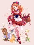 1girl ;d aikatsu! aikatsu!_(series) animal apron basket beige_background bird blueberry blueberry_hair_ornament bottle bow champagne_flute checkerboard_cookie commentary_request cookie corset cup cutting_board detached_sleeves dress drinking_glass flower food food_themed_clothes food_themed_hair_ornament fork fruit full_body garters hair_ornament headdress key long_hair looking_at_viewer one_eye_closed oozora_akari open_mouth orange_hair petticoat pink_legwear puffy_sleeves puracotte rabbit raspberry raspberry_hair_ornament red_dress red_eyes red_footwear red_headwear shoes signature simple_background skirt_hold smile solo standing striped striped_bow striped_legwear thigh-highs thigh_gap vertical-striped_legwear vertical_stripes waist_apron wrist_cuffs zettai_ryouiki