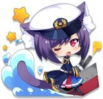 1girl animal_ears azur_lane belt black_hair black_legwear blue_skirt blush cat_ears cat_tail chibi eyebrows_visible_through_hair long_sleeves looking_at_viewer multicolored multicolored_clothes multicolored_skirt official_art one_eye_closed open_mouth pantyhose pink_eyes red_skirt skirt solo star tail transparent_background white_headwear
