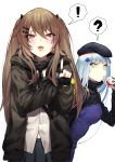! 2girls ? absurdres bangs beret blunt_bangs blush breasts brown_hair cowboy_shot cup drinking eyebrows_visible_through_hair facial_mark fang fingerless_gloves girls_frontline gloves green_eyes hair_between_eyes hair_ornament hairclip hat highres hk416_(girls_frontline) holding holding_cup jacket kyo long_hair looking_at_viewer medium_breasts multiple_girls open_mouth pointing pointing_at_viewer red_eyes ribbon scar scar_across_eye shirt silver_hair simple_background skin_fang skirt smile spoken_exclamation_mark spoken_question_mark teardrop twintails ump9_(girls_frontline) untucked_shirt very_long_hair white_background