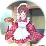 1girl akaboshi_koume alternate_costume apron bangs blue_eyes blurry blurry_background brown_hair commentary cup day flower frilled_apron frills girls_und_panzer green_tea hair_flower hair_ornament highres holding holding_tray indoors japanese_clothes kimono long_sleeves looking_at_viewer maid_apron maid_headdress open_mouth pink_kimono short_hair short_kimono shouji sliding_doors smile solo standing tea tray twitter_username wa_maid wavy_mouth white_apron wide_sleeves yunagi_(arukumaruta) yunomi