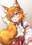 1girl :o absurdres animal_ear_fluff animal_ears blonde_hair blush commentary_request eyebrows_visible_through_hair fang fox_ears fox_tail gradient gradient_background grey_background hair_between_eyes hair_ornament highres japanese_clothes long_sleeves miko miyabi_(miyabeeya) open_mouth senko_(sewayaki_kitsune_no_senko-san) sewayaki_kitsune_no_senko-san short_hair solo tail yellow_eyes