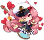 1girl animal_ears artist_request azur_lane blush bow cat_ears cat_tail character_request chibi closed_mouth crumbs eyebrows_visible_through_hair food full_body hat hat_bow heart holding holding_plate long_sleeves looking_at_viewer official_art one_eye_closed pantyhose pink_bow pink_eyes pink_hair plate red_bow smile solo tail transparent_background white_headwear white_legwear