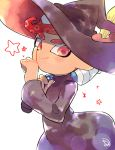 1boy black_headwear black_robe closed_mouth hand_up hat holding index_finger_raised inkbrush_(splatoon) kirikuchi_riku long_sleeves looking_at_viewer mohawk octarian octoling over_shoulder pink_eyes redhead robe smile solo splatoon_(series) splatoon_2 star suction_cups tentacle_hair white_background wizard_hat