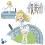 blonde_hair cosmog dynamax giantess graphite_(medium) green_eyes highres lillie_(pokemon) pokemon pokemon_(game) satoshi_(pokemon) stadium takeshi_(pokemon) traditional_media