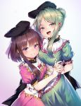 2girls absurdres apron black_headwear bow brown_hair commentary dress frills green_dress green_eyes green_hair hat highres multiple_girls nail_polish nishida_satono pink_dress puffy_short_sleeves puffy_sleeves pyonsuke_(pyon2_mfg) short_hair short_hair_with_long_locks short_sleeves tate_eboshi teireida_mai tied_hair touhou violet_eyes waist_apron