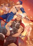 4boys abs absurdres archer arm_tattoo armpits back_tattoo bare_arms black_gloves black_hair blonde_hair blue_hair blue_pants bracelet cape dutch_angle ea_(fate/stay_night) earrings fate/grand_order fate/prototype fate/prototype:_fragments_of_blue_and_silver fate/stay_night fate_(series) gae_bolg gilgamesh gloves gold_armor grey_eyes highres holding holding_spear holding_staff holding_weapon jewelry lancer looking_at_viewer male_focus mazjojo multiple_boys muscle necklace orange_background ozymandias_(fate) pants polearm shirtless sitting spear staff standing tan tattoo weapon white_cape white_hair