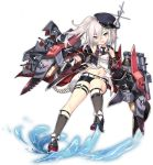 1girl anchor azur_lane bangs bare_shoulders beret black_legwear black_shorts cannon full_body gloves hair_between_eyes hat looking_at_viewer machinery navel official_art open_mouth remodel_(azur_lane) rigging saru shorts silver_hair torpedo transparent_background turret violet_eyes white_gloves z1_leberecht_maass_(azur_lane)