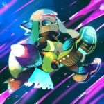 1girl aqua_eyes aqua_hair black_cape cape domino_mask full_body headgear hero_shot_(splatoon) highres inkling kirikuchi_riku long_hair long_sleeves mask open_mouth shoes solo splatoon_(series) splatoon_2 splatoon_2:_octo_expansion squidbeak_splatoon tentacle_hair torn_cape torn_clothes vest