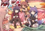 4girls ahokoo aki_makoto animal_ears boots brown_hair character_request closed_eyes commentary frills fur_trim hands_together himemiya_maho indian_style kirihara_kasumi knee_boots multiple_girls paws princess_connect! princess_connect!_re:dive purple_hair sitting staff tail thigh-highs yellow_eyes