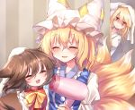 3girls :3 absurdres animal_ears blonde_hair blurry blush bow brown_hair cat_ears cat_tail chen chinese_clothes closed_eyes commentary_request depth_of_field dress drying drying_hair floating_hair fox_tail hair_bow hair_down hair_dryer hat hat_ribbon highres indoors jitome long_sleeves looking_at_another mob_cap multiple_girls multiple_tails open_mouth peeping pillow_hat pudding_(skymint_028) puffy_long_sleeves puffy_sleeves purple_dress red_vest ribbon shirt short_hair tabard tail touhou towel towel_on_head two_tails upper_body vest violet_eyes wet wet_hair white_dress white_shirt wide_sleeves yakumo_ran yakumo_yukari yellow_neckwear