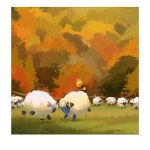 artist_name ashley_coad autumn autumn_leaves border closed_eyes fence gen_2_pokemon gen_8_pokemon grass headbutt leaf mareep no_humans pokemon pokemon_(creature) scenery tail tree watermark web_address white_border wooloo