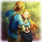 1boy 1girl black_gloves black_pants blonde_hair braid closed_eyes earrings eating facing_another fingerless_gloves gloves grass hair_ornament hairclip hand_on_hip highres jewelry link long_hair pants pearjarrr pointy_ears ponytail pouch princess_zelda short_ponytail sitting smile standing sweatdrop the_legend_of_zelda the_legend_of_zelda:_breath_of_the_wild tree_stump