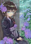 black_hair blue_eyes braid flower hair_flower hair_ornament highres hydrangea japanese_clothes kantai_collection kimono lajhen2651 outdoors rain shigure_(kantai_collection) side_braid sitting smile