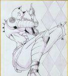 argyle argyle_background colored_pencil_(medium) highres ink_(medium) jojo_no_kimyou_na_bouken killer_queen kojima_eri_(animator) looking_to_the_side no_humans shikishi signature stand_(jojo) traditional_media