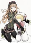 2girls ^_^ android atlus bow closed_eyes cute gamelife506 goggles goggles_on_head human kneeling long_hair megami_tensei orange_hair persona persona_5 persona_q2:_new_cinema_labyrinth persona_q_(series) red_bow ribbon_(persona_q) robot sakura_futaba shoes smile sneakers tile_floor tiles