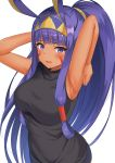 1girl absurdres animal_ears armpits arms_up bangs bare_shoulders blunt_bangs blush breasts dark_skin facepaint facial_mark fate/grand_order fate_(series) hair_tubes highres jackal_ears large_breasts long_hair looking_at_viewer nanasea74 nitocris_(fate/grand_order) open_mouth ponytail purple_hair sidelocks simple_background solo very_long_hair violet_eyes wavy_mouth white_background