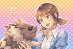 1girl brown_eyes brown_hair gen_3_pokemon juliet_sleeves lass_(pokemon) long_sleeves medium_hair ooki1089 open_mouth pokemon polka_dot polka_dot_background puffy_sleeves sidelocks smile solo twitter_username upper_body zigzagoon