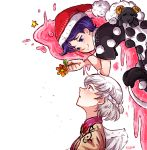 2girls :3 angel_wings animal artist_name bare_arms blob blush bow bowtie braid brooch closed_mouth collared_shirt doremy_sweet dress ear_blush flower french_braid from_side grey_hair grey_wings half-closed_eyes hat highres holding holding_flower jacket jewelry kishin_sagume looking_at_another looking_down looking_up multiple_girls nightcap open_mouth pom_pom_(clothes) purple_hair red_headwear sheep shirt short_hair short_sleeves single_wing sleep_(isliping) smile tail tapir_tail touhou violet_eyes wings