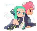 1boy 1girl aqua_hair bike_shorts blue_eyes closed_mouth domino_mask headgear inkling kirikuchi_riku long_sleeves looking_at_another mask mohawk octarian octoling shoes single_vertical_stripe smile splatoon_(series) splatoon_2 splatoon_2:_octo_expansion squidbeak_splatoon suction_cups tentacle_hair vest