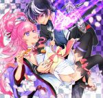 1boy 1girl :d armpits black_hair black_jacket black_legwear black_pants blazer blue_shirt breasts character_request checkered checkered_background couple detached_sleeves earrings eye_contact fang floating_hair highlights highres jacket japanese_clothes jewelry kimono long_hair long_sleeves looking_at_another magic_circle multicolored_hair necktie necktie_grab neckwear_grab oda_nobuhime oda_nobuhime_(channel) open_blazer open_clothes open_jacket open_mouth pants pink_hair purple_sleeves shiny shiny_hair shirt short_kimono sleeveless sleeveless_kimono small_breasts smile sumi_otto thigh-highs thigh_strap very_long_hair violet_eyes virtual_youtuber white_kimono white_neckwear