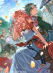 2boys 3girls alm_(fire_emblem) alternate_costume back-to-back blonde_hair braid brown_hair celica_(fire_emblem) clouds cloudy_sky day dress drum earrings eyebrows_visible_through_hair fire_emblem fire_emblem_cipher fire_emblem_echoes:_mou_hitori_no_eiyuuou flower flute green_eyes green_hair hair_flower hair_ornament hand_in_hair house instrument jewelry kato_ayaka long_hair multiple_boys multiple_girls necklace official_art open_mouth orange_hair outdoors pants parted_lips petals profile sash shirt short_hair sitting sky sleeveless tree vest watermark white_dress wind