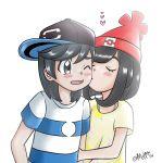 1boy 1girl black_hair blush hat metmiu mizuki_(pokemon) moon_(pokemon) open_mouth pokemon pokemon_(game) pokemon_sm pokemon_special red_headwear shirt short_hair simple_background sun_(pokemon) white_background you_(pokemon)