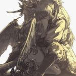 1boy 1girl closed_eyes couple dragon_girl female_my_unit_(fire_emblem_if) fire_emblem fire_emblem_if grey_pants grey_shirt horns hug kneeling long_hair mooncanopy my_unit_(fire_emblem_if) pants ponytail shirt silver_hair sitting tail takumi_(fire_emblem_if) very_long_hair wings