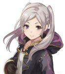 1girl closed_mouth female_my_unit_(fire_emblem:_kakusei) fire_emblem fire_emblem:_kakusei gloves hashiko_(neleven) hood hood_down long_sleeves my_unit_(fire_emblem:_kakusei) simple_background solo twintails upper_body white_background white_hair
