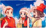 1boy 2girls backpack bag beanie blue_eyes blue_hair blue_sky brown_eyes brown_hair clouds floral_print hat highres hikari_(pokemon) male_protagonist_(pokemon_swsh) mizuki_(pokemon) mu_acrt multiple_girls pokemon pokemon_(game) pokemon_dppt pokemon_sm pokemon_swsh red_headwear red_scarf red_shirt scarf shirt signature sky trait_connection upper_body white_headwear yellow_shirt