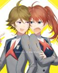1boy 1girl ahoge arguing blue_eyes brown_hair copyright_name crossed_arms darling_in_the_franxx floating_hair hair_between_eyes highres long_hair long_sleeves miku_(darling_in_the_franxx) miyamotokannn open_mouth twintails upper_body v-shaped_eyebrows violet_eyes zorome_(darling_in_the_franxx)